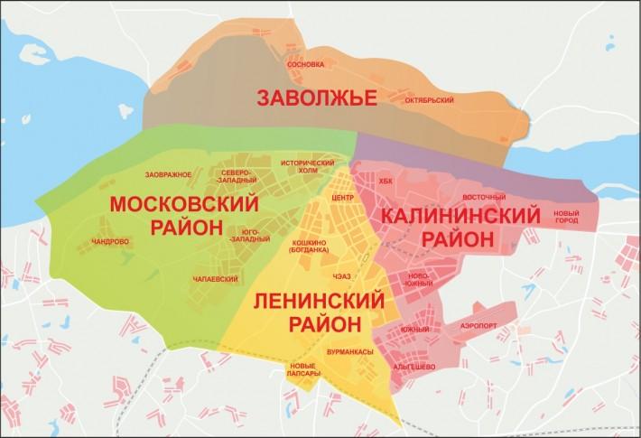 Карта районов Чебоксар