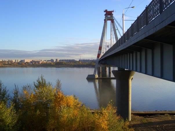 Октябрьский мост (одна из достопримечательностей Череповца) и вид на 104-й микрорайон