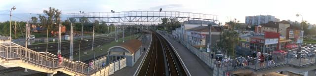 Панорама станции «Орехово-Зуево». Вид с переходного моста