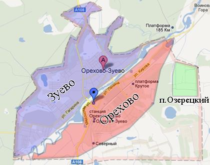 Карта Орехово-Зуево