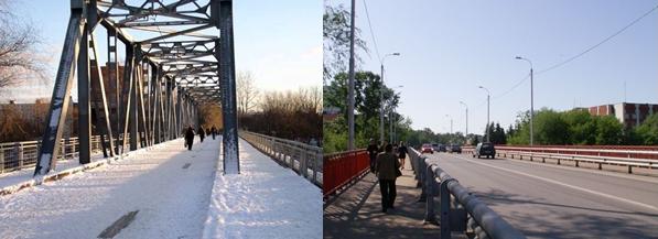 Мост им.Широкова (в народе «Старый мост»). Слева до реорганизации, справа – после