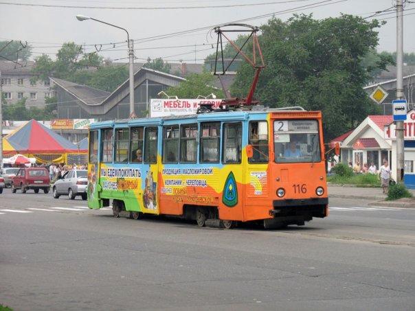 Трамвай в Индустриальном районе Череповца
