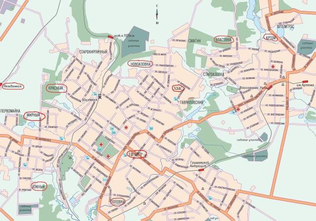 Карта Шахт