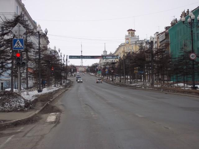 Магадан. Улица Ленина. Вид на телевышку