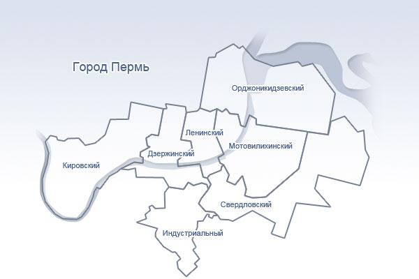 Карта города. Районы Перми