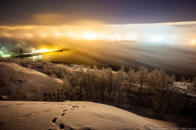 Ночной Мурманск в -25º. Ветер