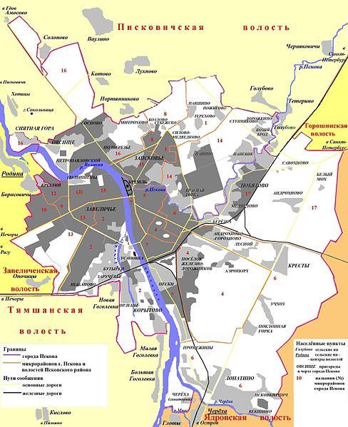 Карта Пскова