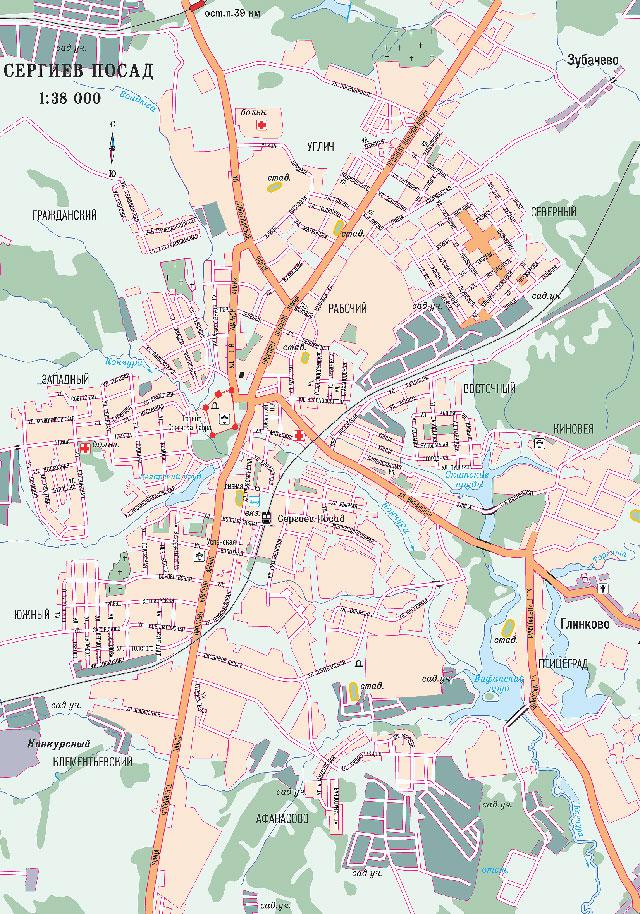 Карта Сергиева Посада