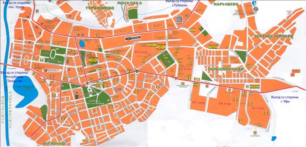 Октябрьский. Карта районов