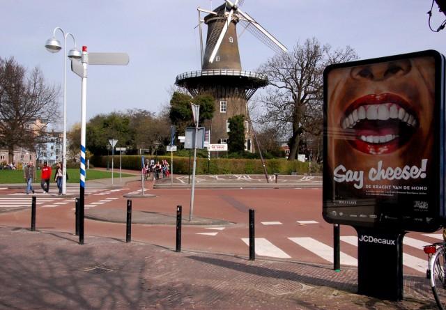 Leiden. Вид на мельницу и велосипедные дорожки
