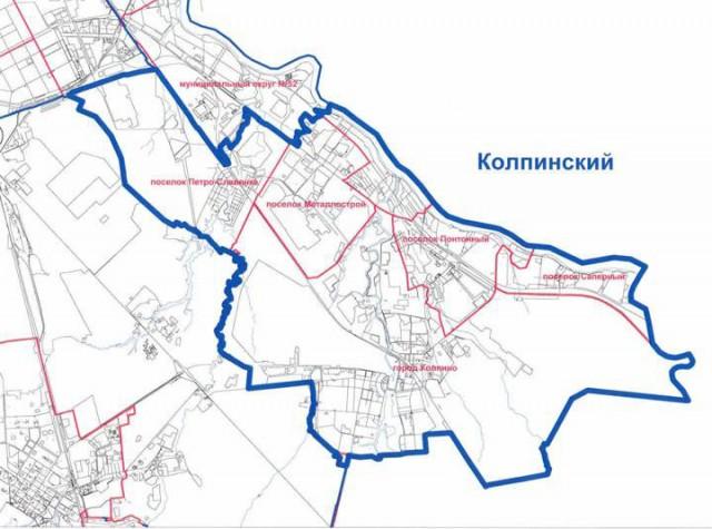 Карта Колпинского района