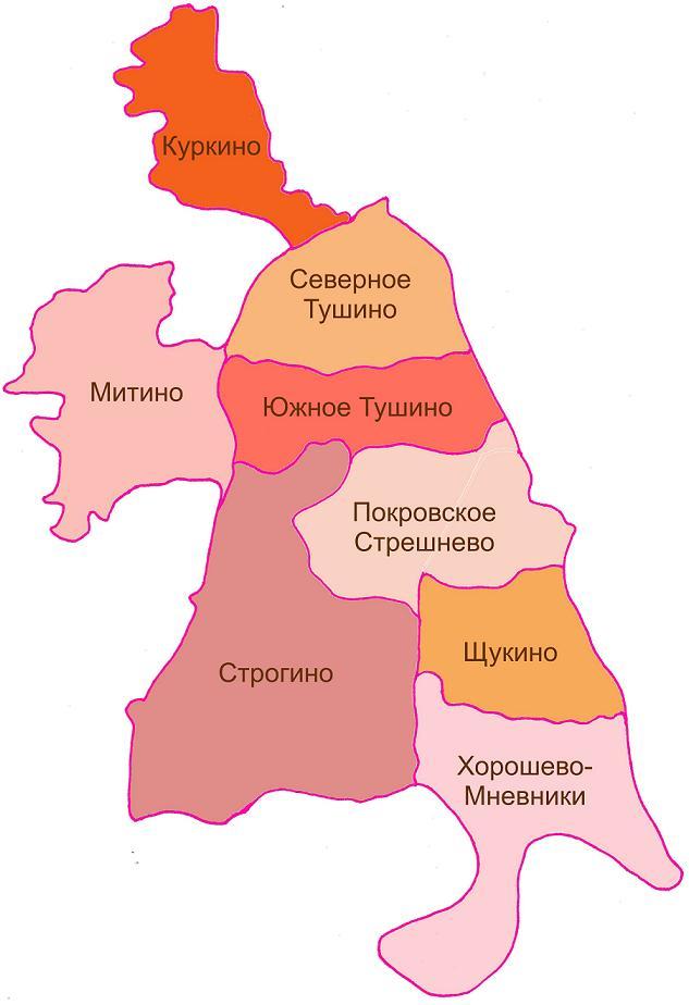 Схема районирования СЗАО