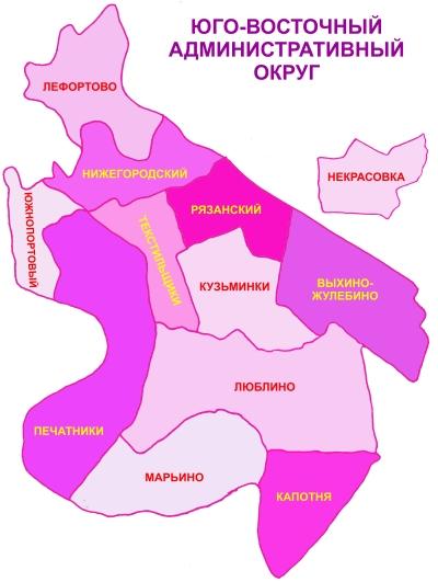 Схема районов ЮВАО