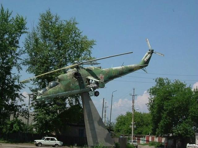Один из символов Сызрани. Вертолет в Военном городке