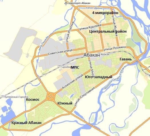 Карта Абакана
