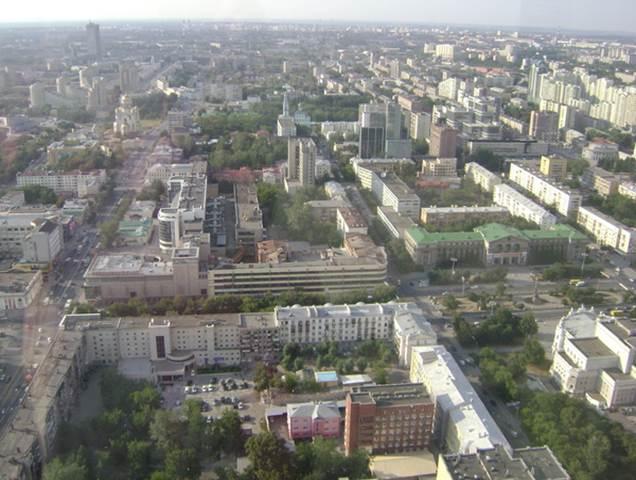 Панорама Екатеринбурга, снято с «Высоцкого»