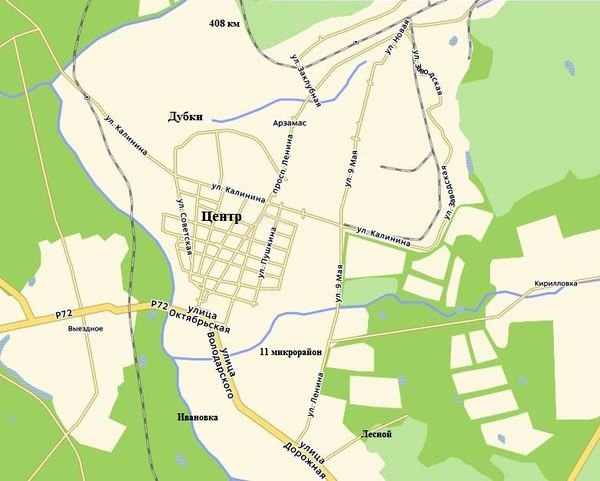 Карта Арзамаса