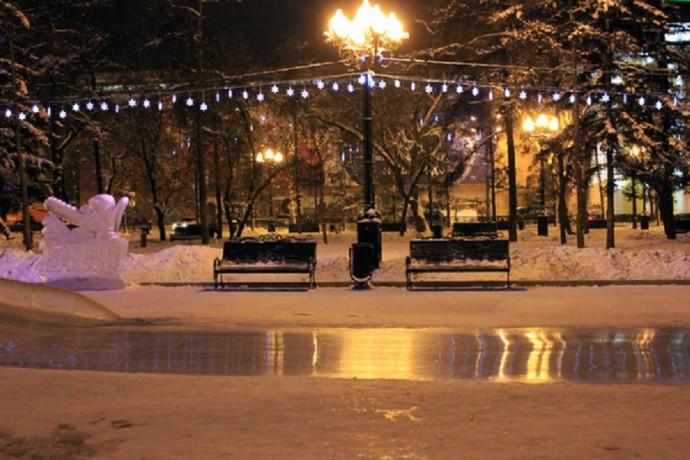 Зимний сквер Иркутска