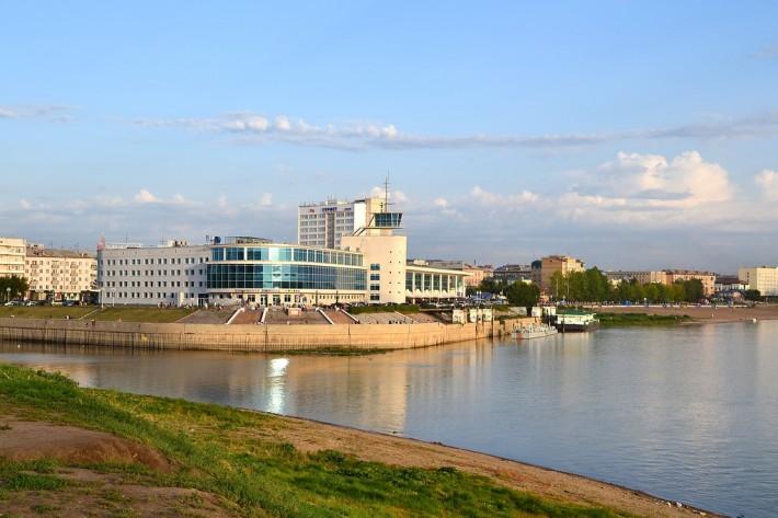 Омск.Речной вокзал.Место впадения Оми в Иртыш