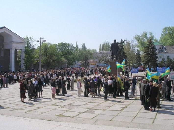 Жители на мирном митинге
