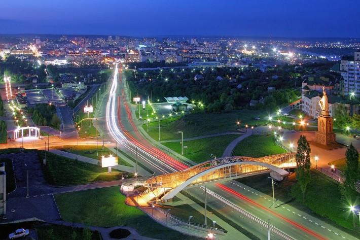 Центральная магистраль города, вид с Харьковской Горы