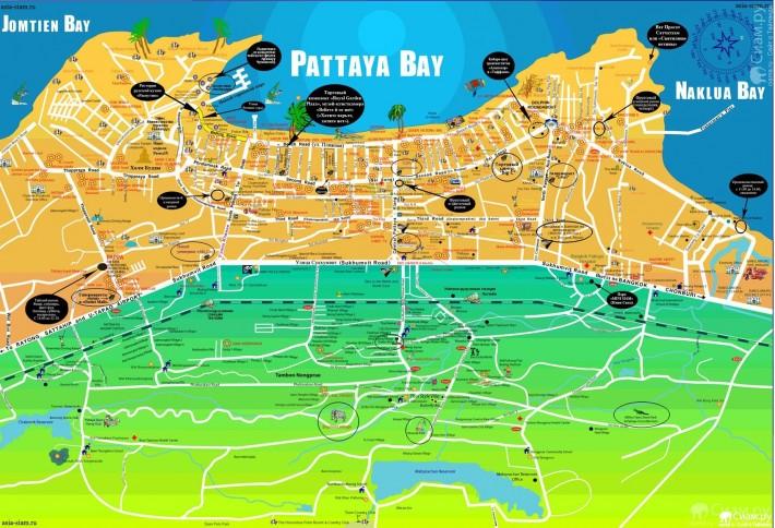 Карта Паттайи с основными улицами