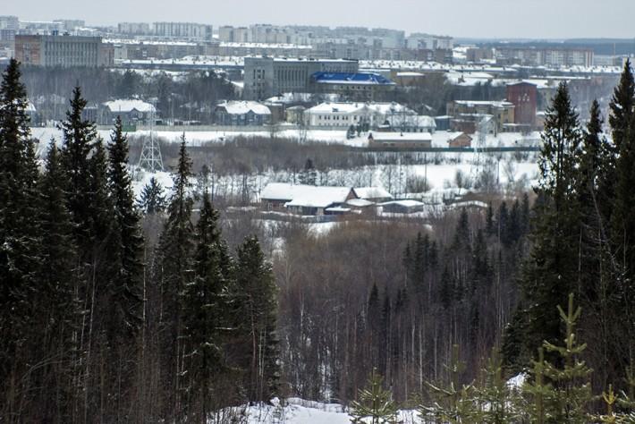 С горы в лесу виден почти весь северный город