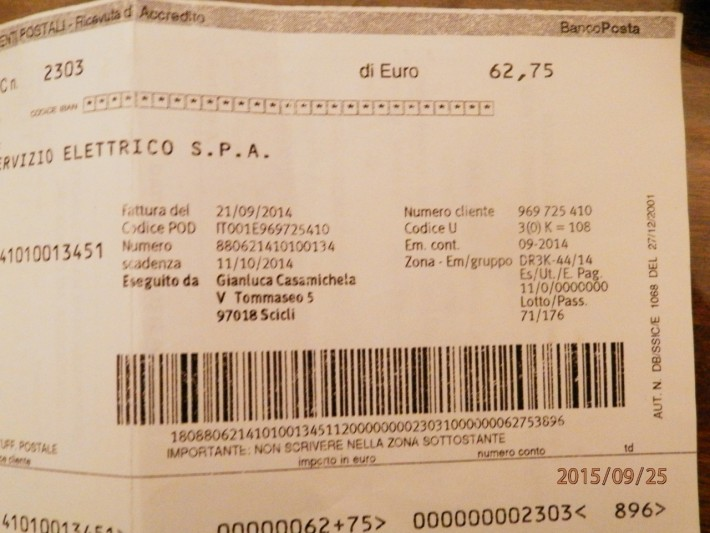 Чек за электроэнергию за июнь. Сицилия