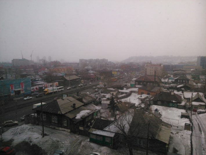 "Барнаул, март, вид из окна бизнес центра ""Идеал"""