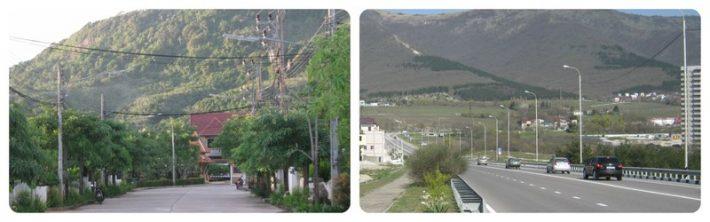 Слева: гора на Пхукете, справа: вид на Гору в Геленджике (с магистрали на Тонкий Мыс)