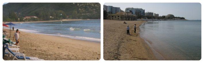 Слева: пляж на Пхукете, справа - в Геленджике