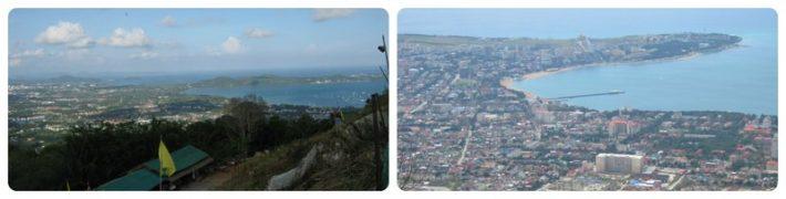 Слева: залив Чалонг, справа: Геленджикская Бухта