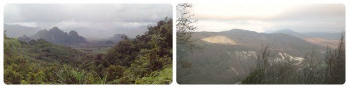 Слева: горы в Таиланде, справа: в Геленджике
